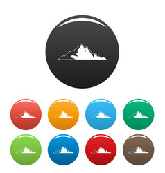 nice mountain icons set color vector image