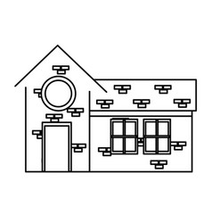 Outlined house rounded window brick structure vector