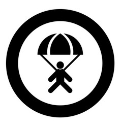Parachute jumper icon black color in circle round vector