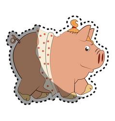 Piggy character funny icon vector