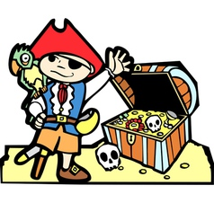 Pirate with Treasure Chest vector image