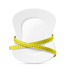 plate with measuring tape diet theme vector image
