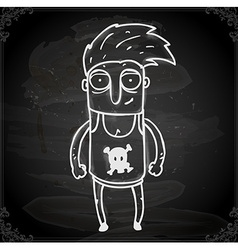 Punk Rocker Dude Drawing on Chalk Board vector