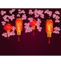 Red Chinese lanterns in a park Cylindrical and vector image