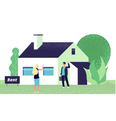 Rental concept young woman and real estate agent vector