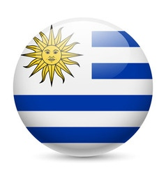 Round glossy icon of uruguay vector