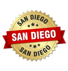 San diego round golden badge with red ribbon vector