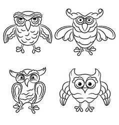 Set four amusing owls vector