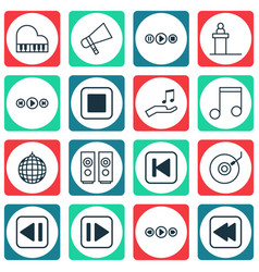 Set of 16 audio icons includes song ui octave vector