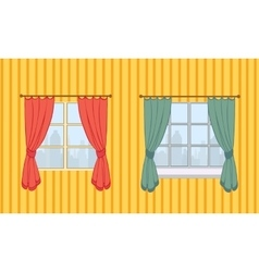 Set of curtains in two variants vector