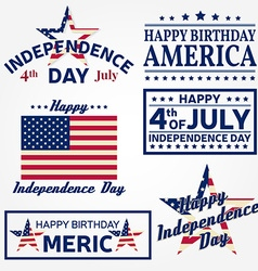 Set of Independence day greeting cards flyers vector