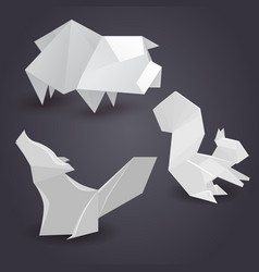 set of paper origami figures of animals vector image