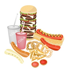 Set of Refreshing Soda Drinks and Fast Food vector image
