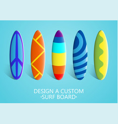 set of surfboards bright colorful custom design vector image