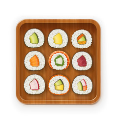 set sushi rolls with various vector image