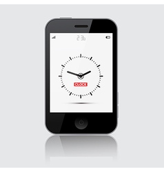 Smartphone with Clock on Grey Background vector image