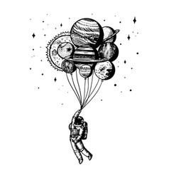 soaring spaceman astronaut with planets balloons vector image