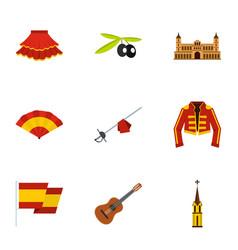 spanish elements icons set flat style vector image