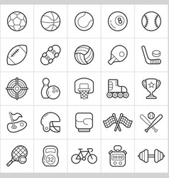 sport equipment trendy style icons on white vector image