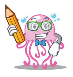 student cute jellyfish character cartoon vector image