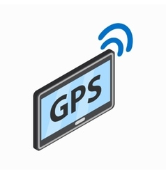 Tablet pc with gps and wi-fi sign icon vector image