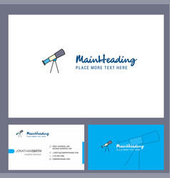 Telescope logo design with tagline front and vector
