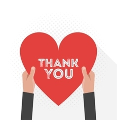 Thank You Lettering Signboard Hold Hand Flat vector image
