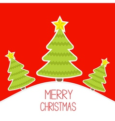 Three Christmas trees a snowy hill Merry Christmas vector image