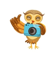 Tourist Owl With Camera Cute Cartoon Character vector image