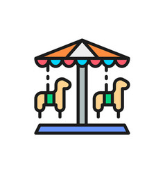 Traditional merry-go-round roundabout carousel vector