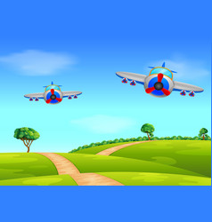 two air plane flying over field vector image