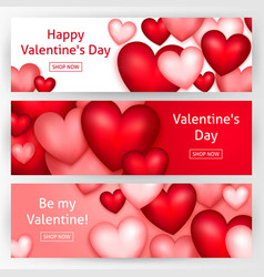 valentines day horizontal banners vector image