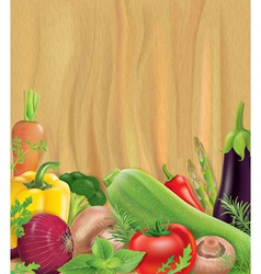 Vegetables on wooden board vector