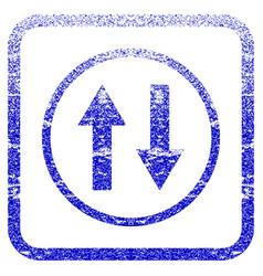 Vertical flip arrows framed textured icon vector