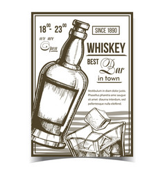 Whiskey relaxation bar advertise poster vector