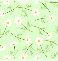 White cosmos flower on green background vector