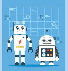 white smart robots vector image