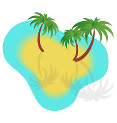 With boats sand and palm trees vector