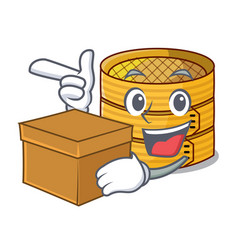 With box cartoon traditional bamboo for steamed vector