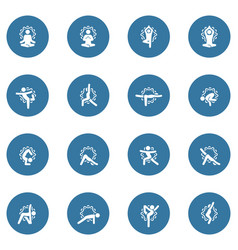 Yoga fitness and meditation icon set flat design vector