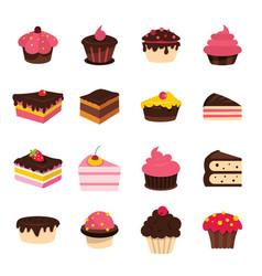 cartoon cake set isolated on white background vector image