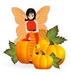 Fairy on a pumpkin vector image vector image
