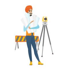 hindu engineer holding twisted blueprints vector image vector image