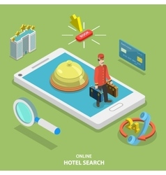 Hotel search online flat isometric concept vector image vector image