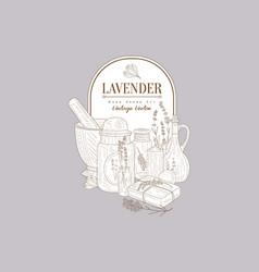 lavender flowers herbal cosmetics set creative vector image