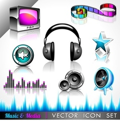music and media icon collection vector image vector image