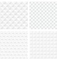 White geometric seamless patterns vector image