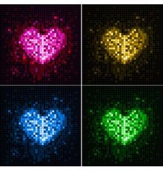 Disco neon heart vector