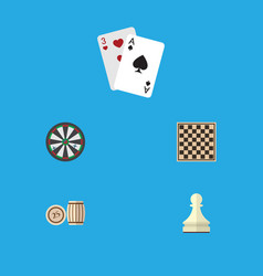 flat icon entertainment set of chess table vector image vector image