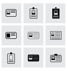 id card icon set vector image vector image